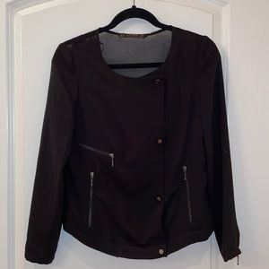 Black bomber style shacket with sheer detail